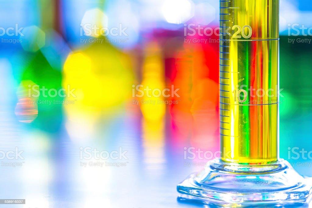 laboratory glassware with color liquid stock photo