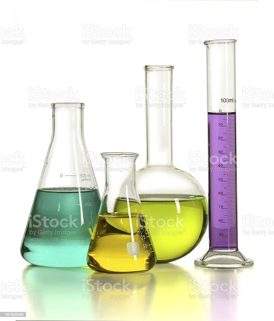 Laboratory Glassware with Liquids stock photo
