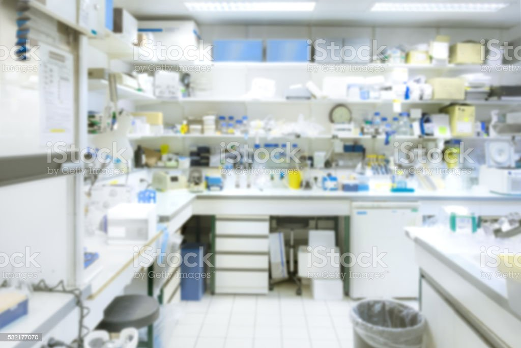 Laboratory interior out of focus stock photo