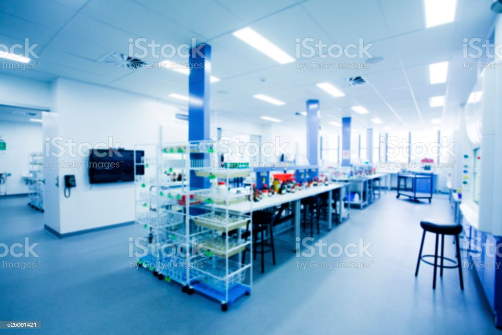 Laboratory interior out of focus, template for a poster stock photo