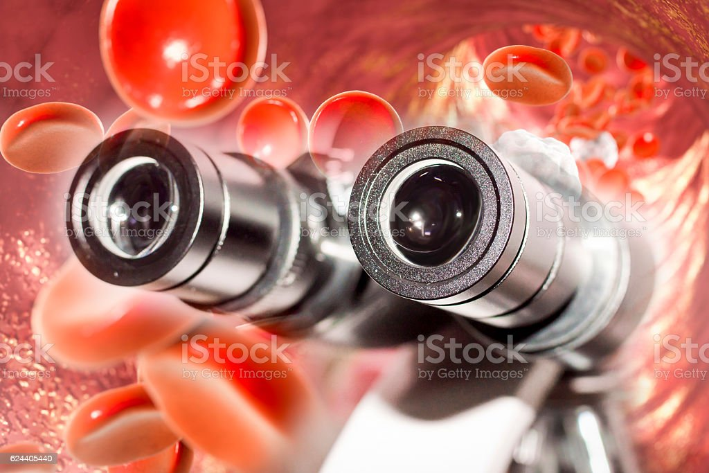 Laboratory microscope and blood flow stock photo