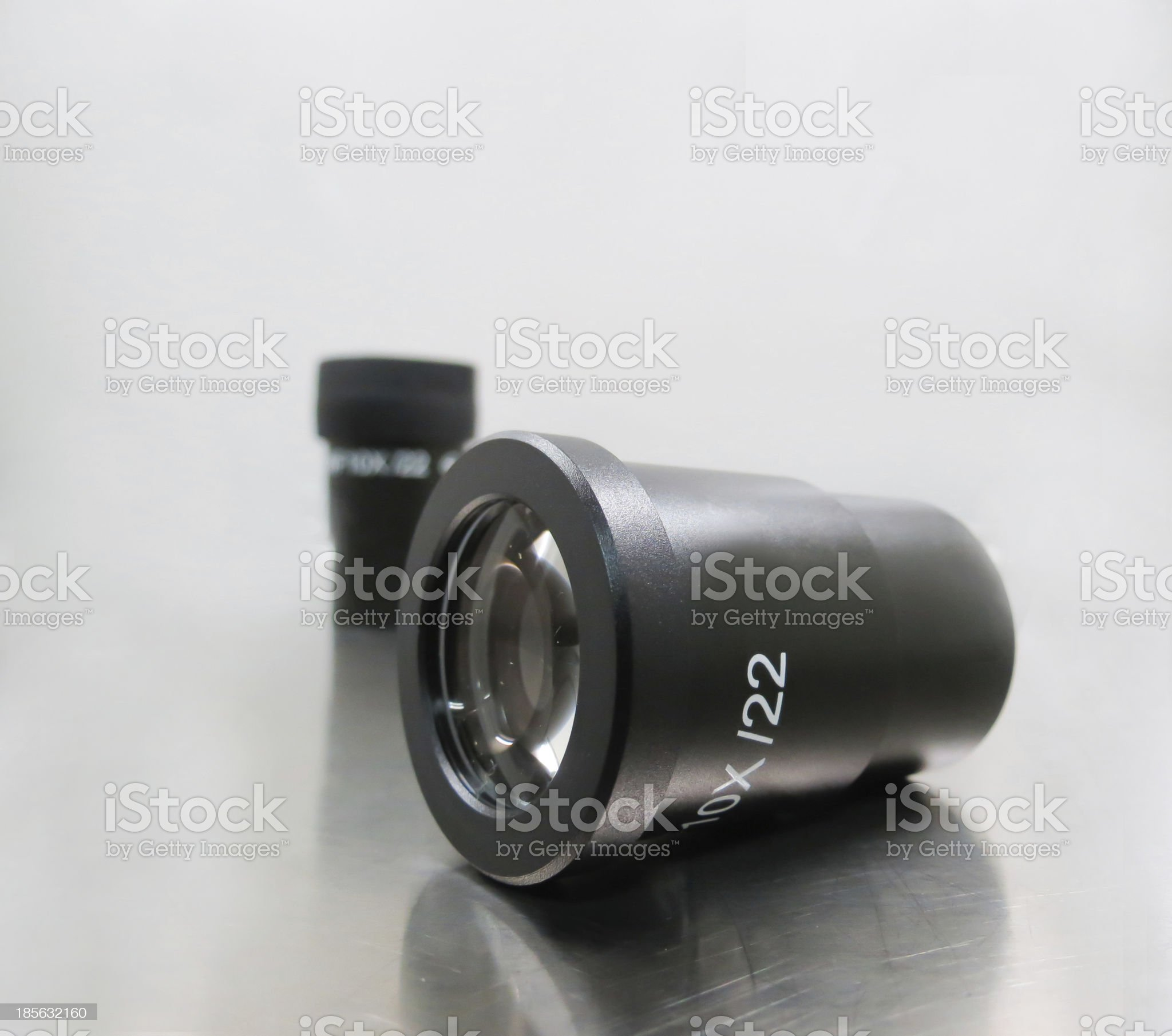 Laboratory microscope eyepiece, with different magnifications royalty-free stock photo