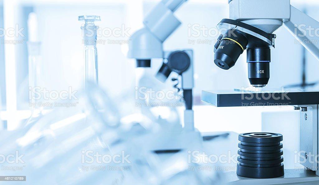 Laboratory microscope lens.Laboratory room stock photo