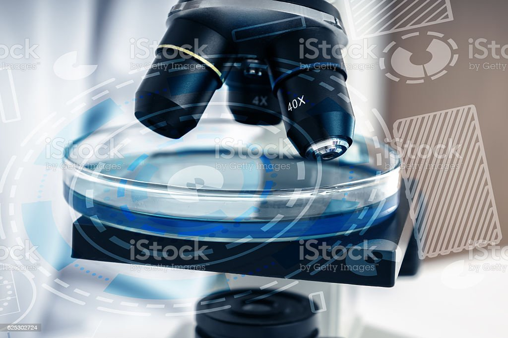 Laboratory microscope lens.modern microscopes in a lab stock photo