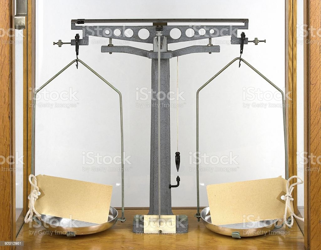 Laboratory Scales With Labels stock photo