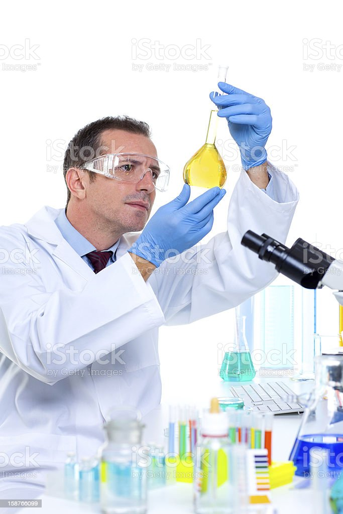laboratory scientist working at lab with test tubes royalty-free stock photo