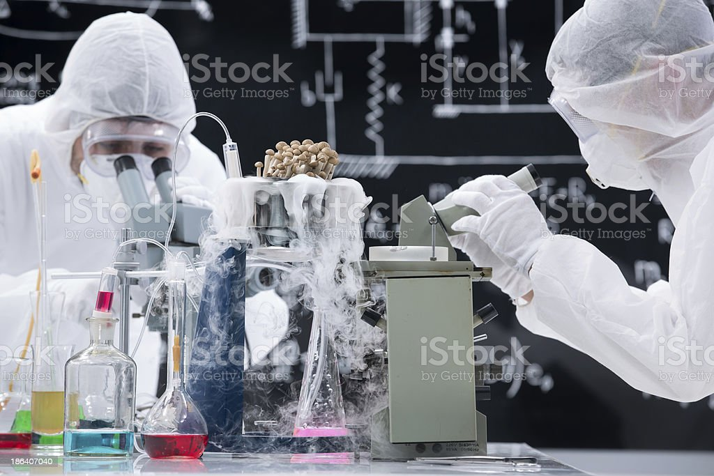 Laboratory scientists working with microscopes royalty-free stock photo