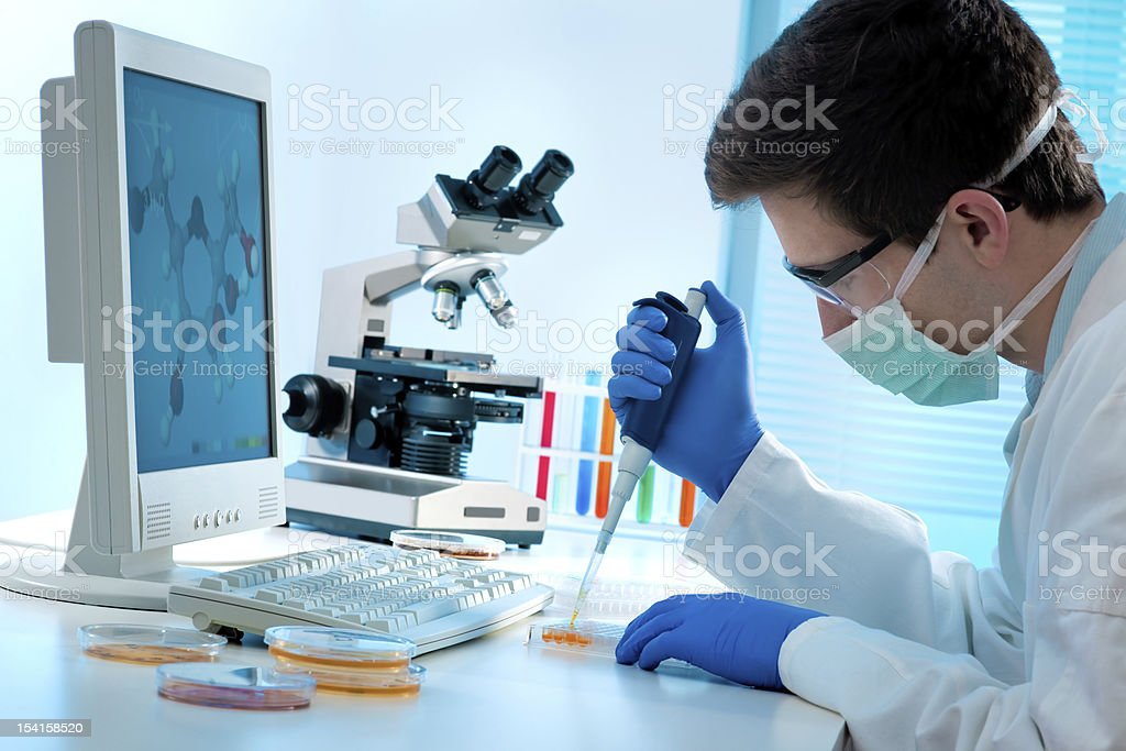 Laboratory technician at work stock photo