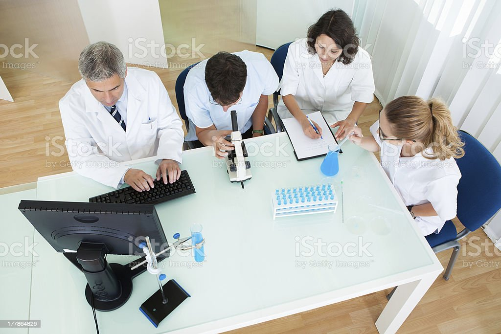 Laboratory technicians at work stock photo