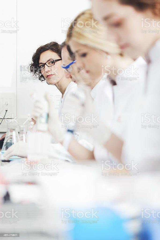 Laboratory technicians doing reserah work. stock photo