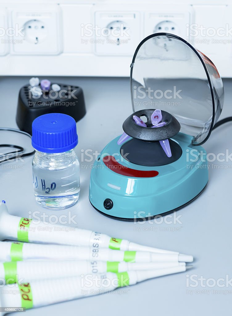 Laboratory tools for DNA work stock photo