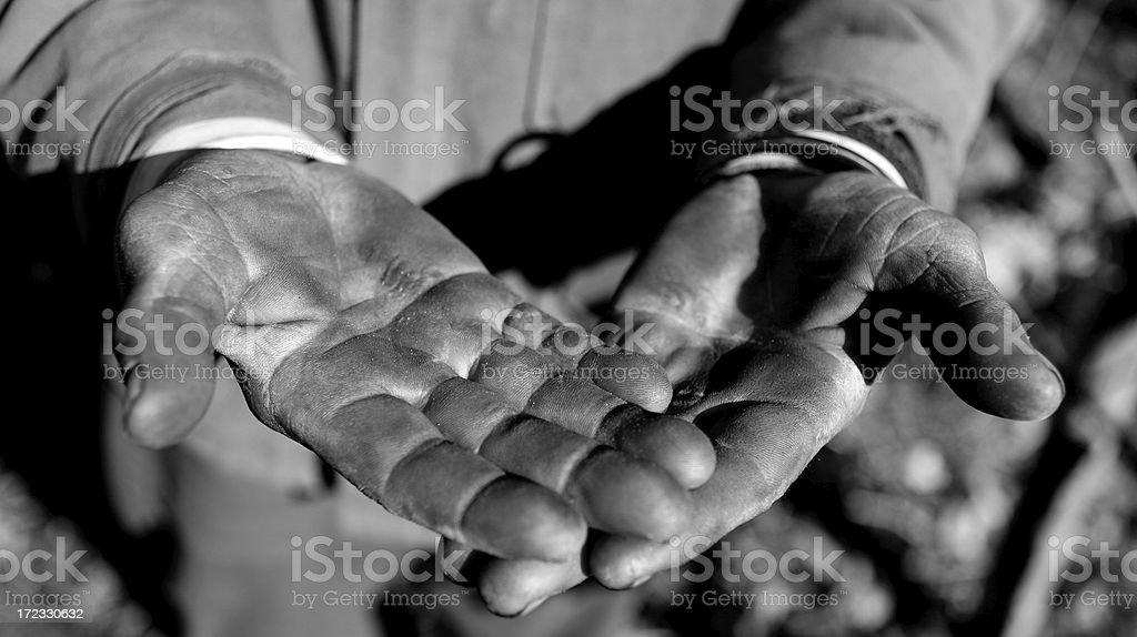 Labourer's hands stock photo