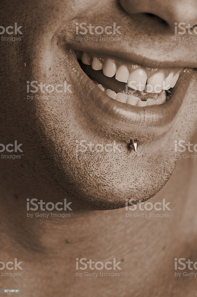 Labret  piercing stock photo