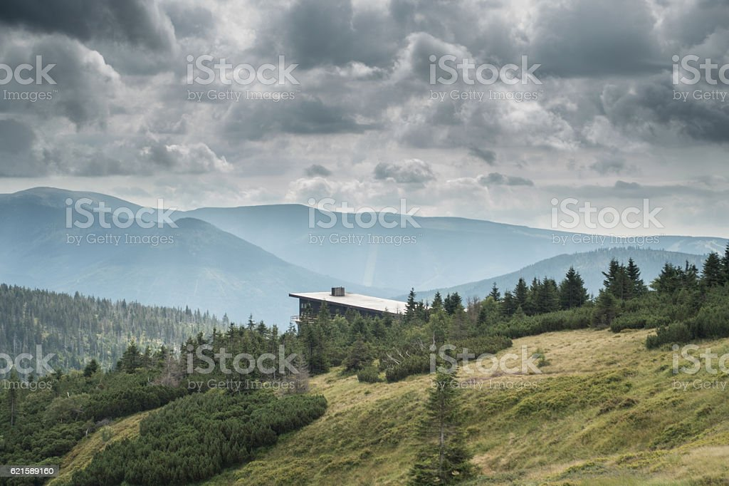 Labska bouda chalet stock photo