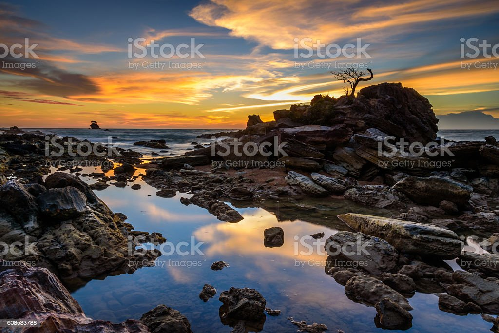Labuan rock bonsai sunset part 1 stock photo