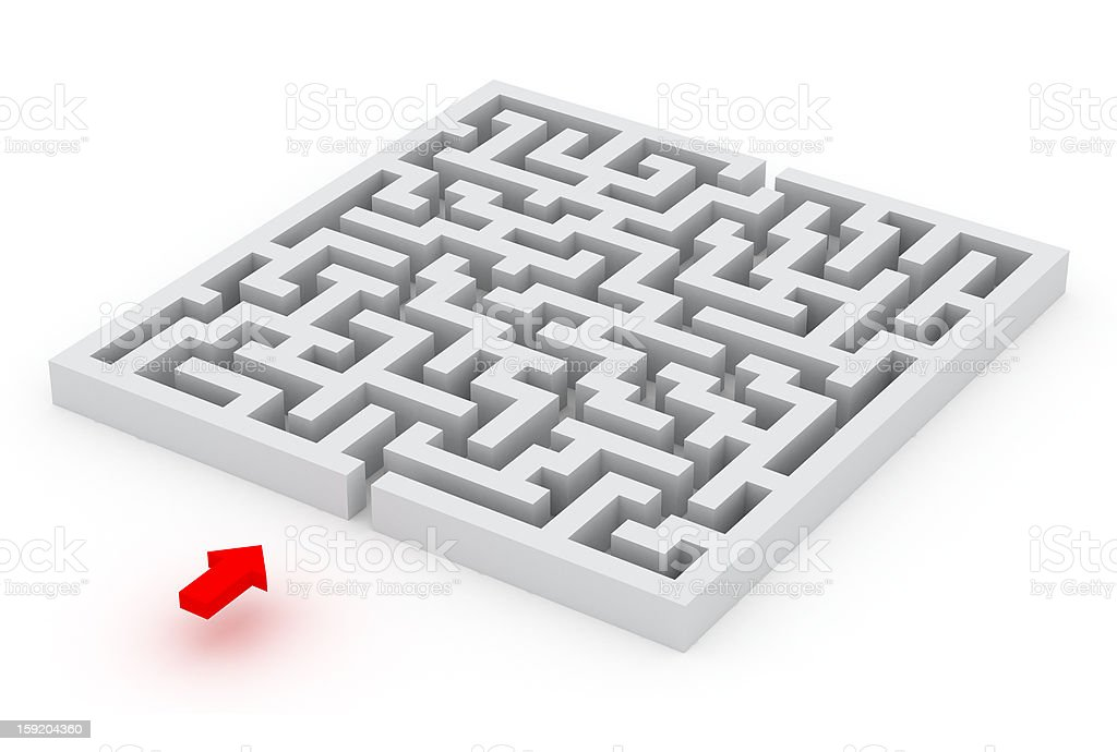 labyrinth and the red arrow stock photo
