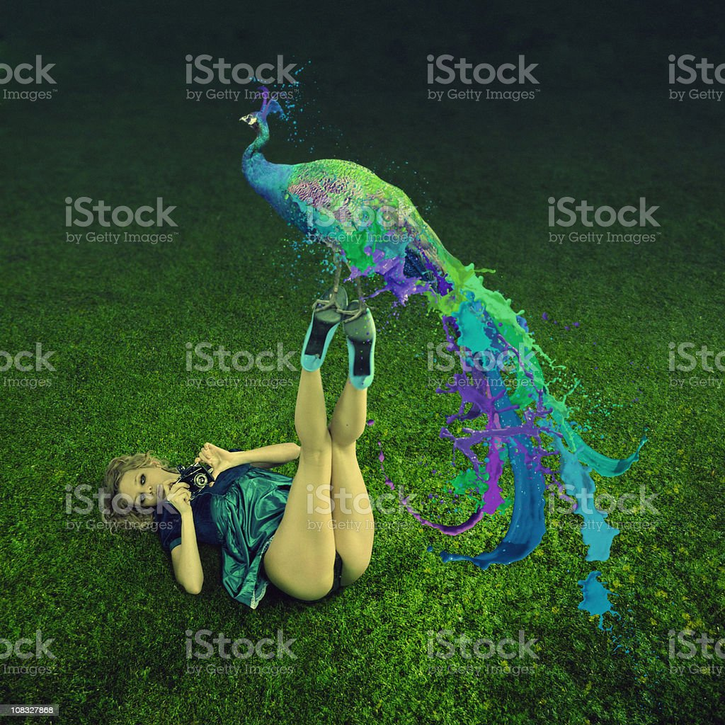Labyrinth. Magic peacock. stock photo