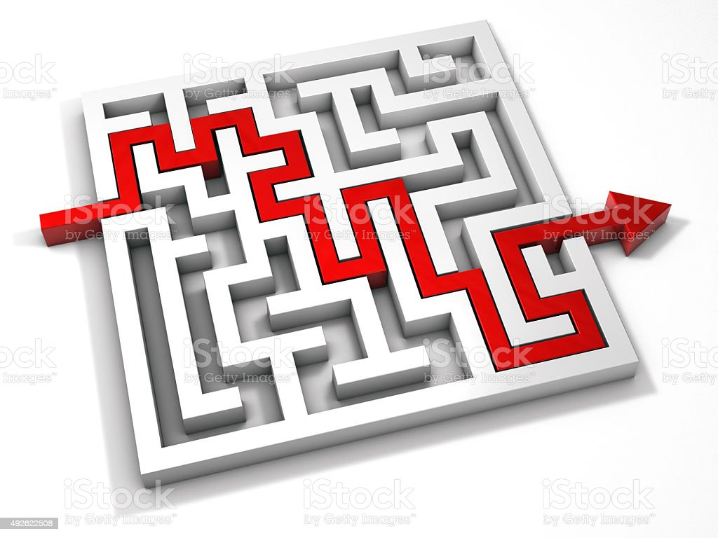 Labyrinth maze 3d arrow red. stock photo
