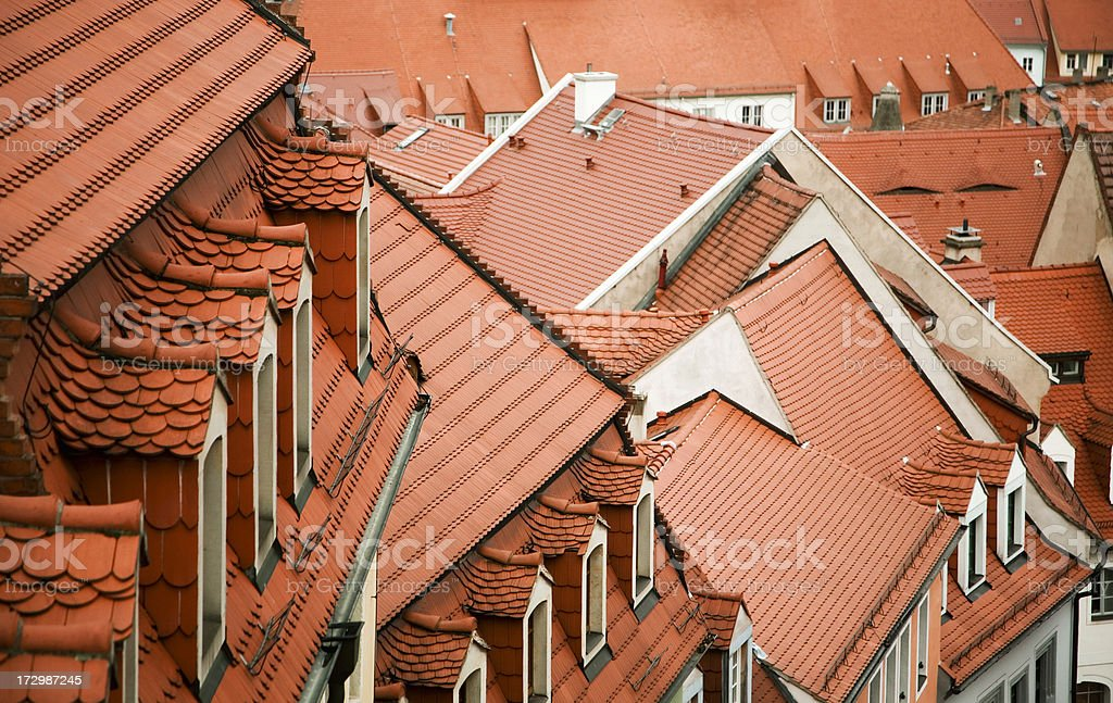 labyrinth of roofs in a city stock photo