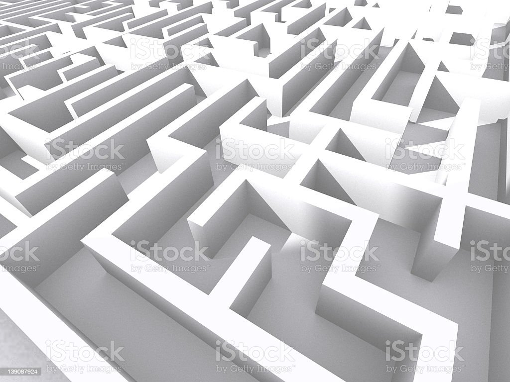 A labyrinth of white squared walls royalty-free stock photo