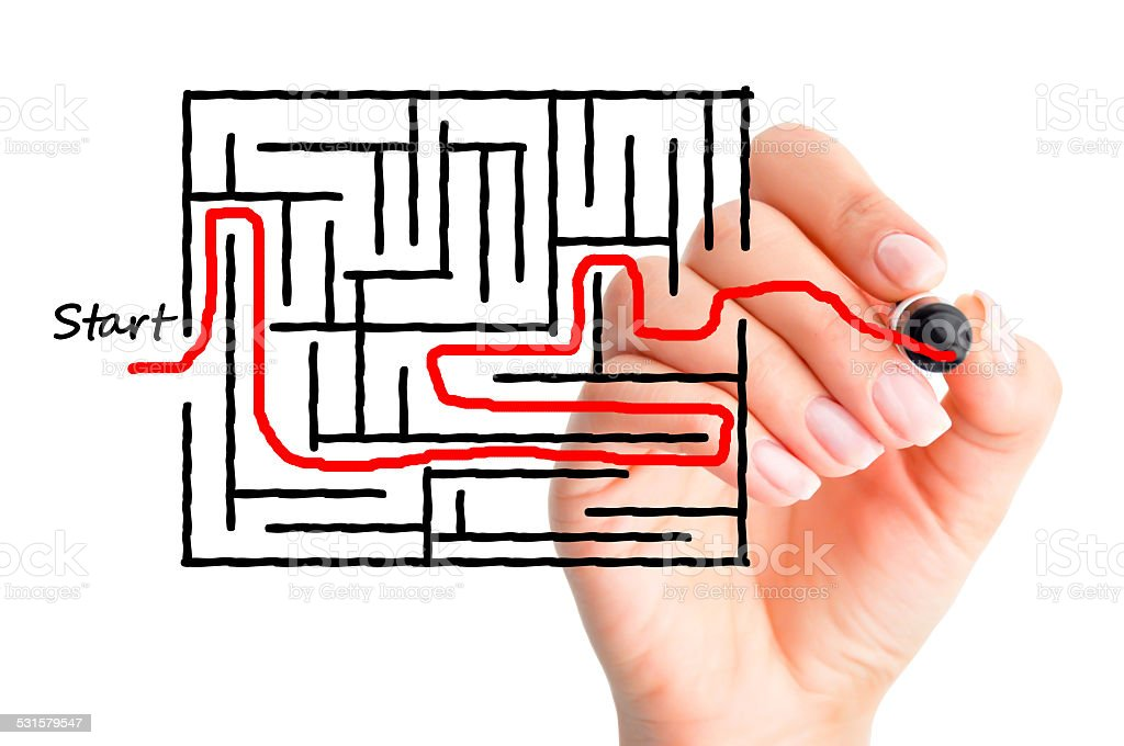 Labyrinth or finding solutions concept stock photo