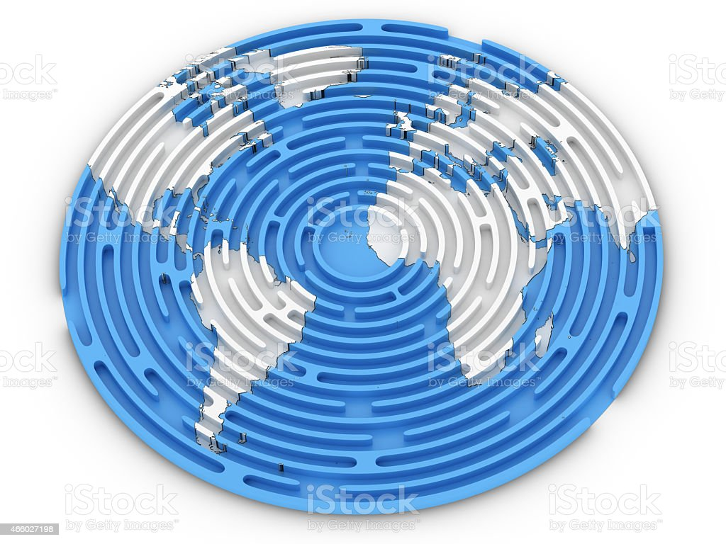 Labyrinth with a Map of the World stock photo