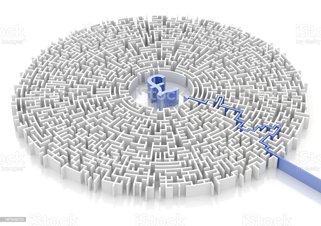 Labyrinth with GBP symbol royalty-free stock photo