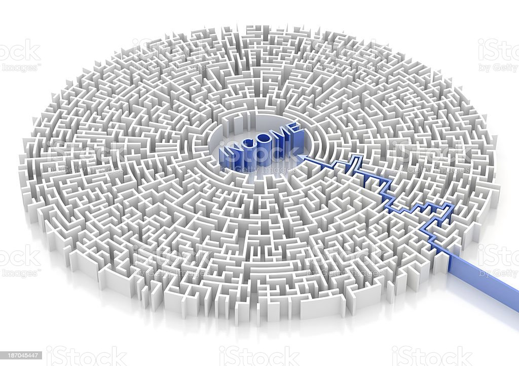 Labyrinth with INCOME word royalty-free stock photo