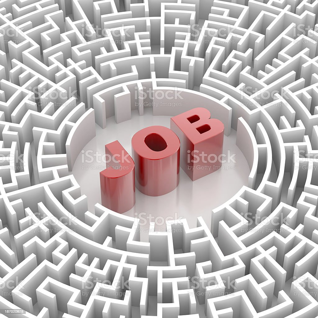 Labyrinth with JOB word royalty-free stock photo