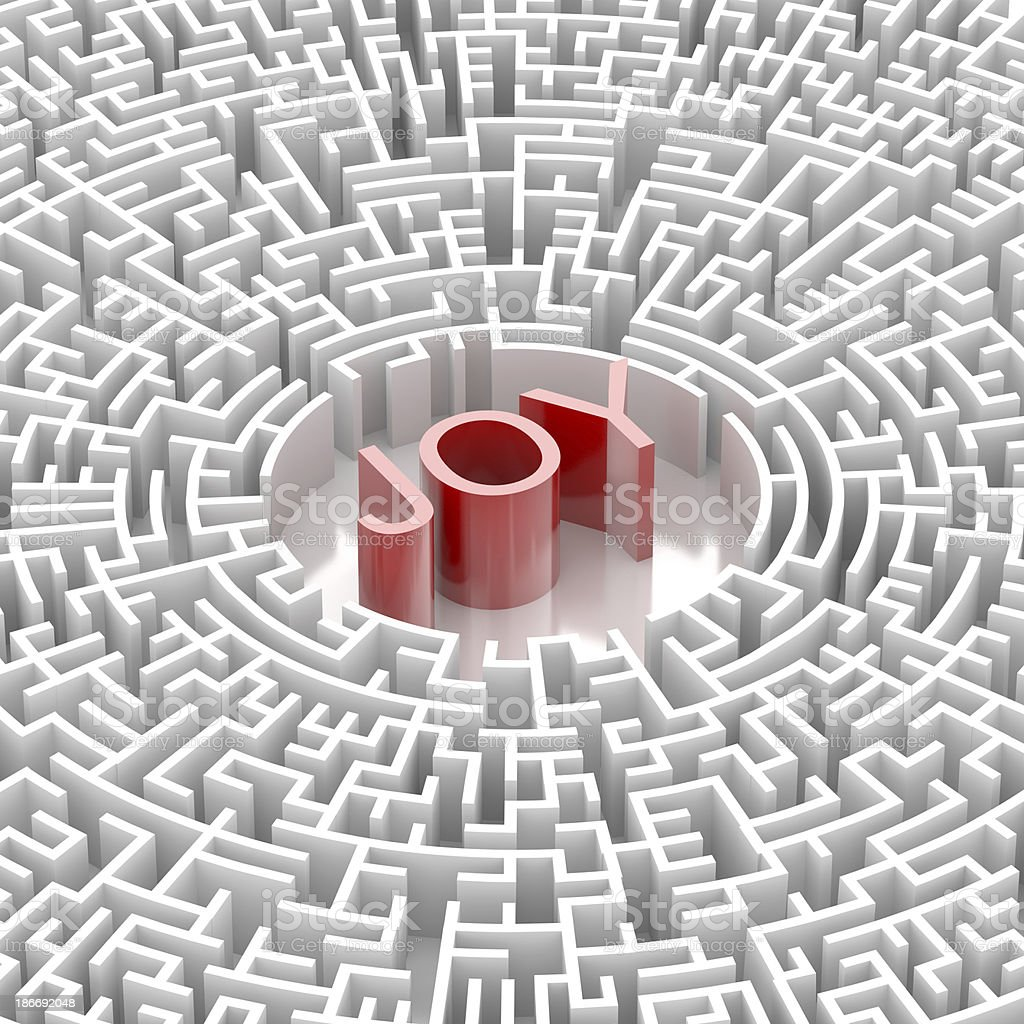 Labyrinth with JOY word royalty-free stock photo