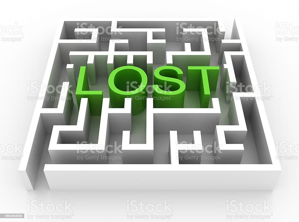 Labyrinth with LOST text (isolated on white) royalty-free stock photo