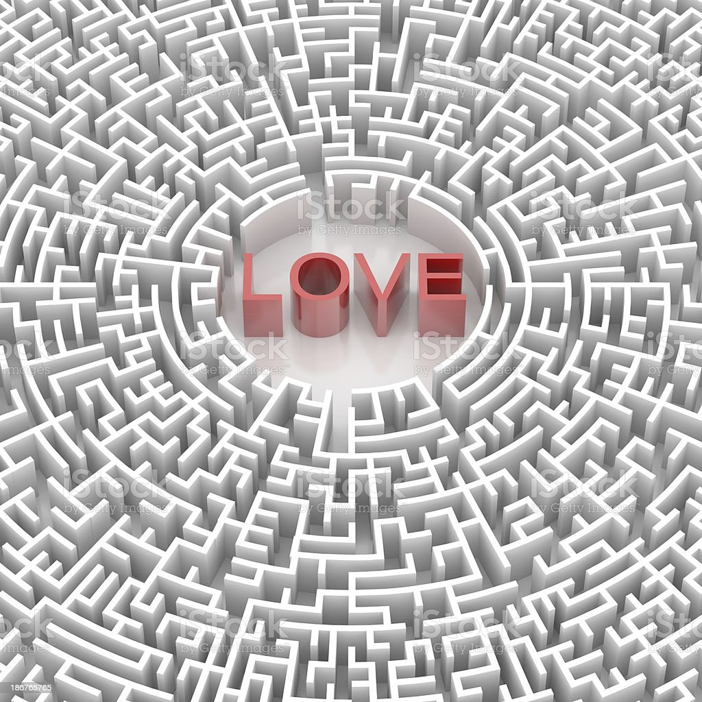 Labyrinth with LOVE word royalty-free stock photo
