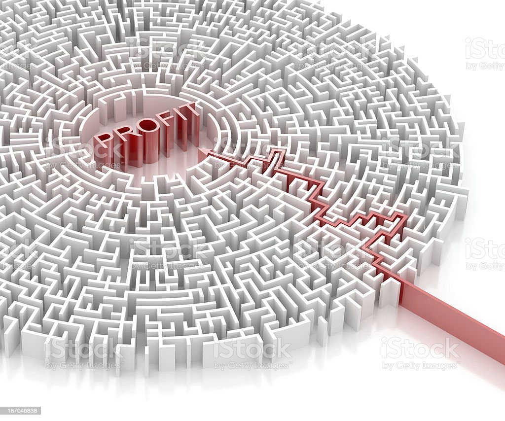 Labyrinth with PROFIT word royalty-free stock photo