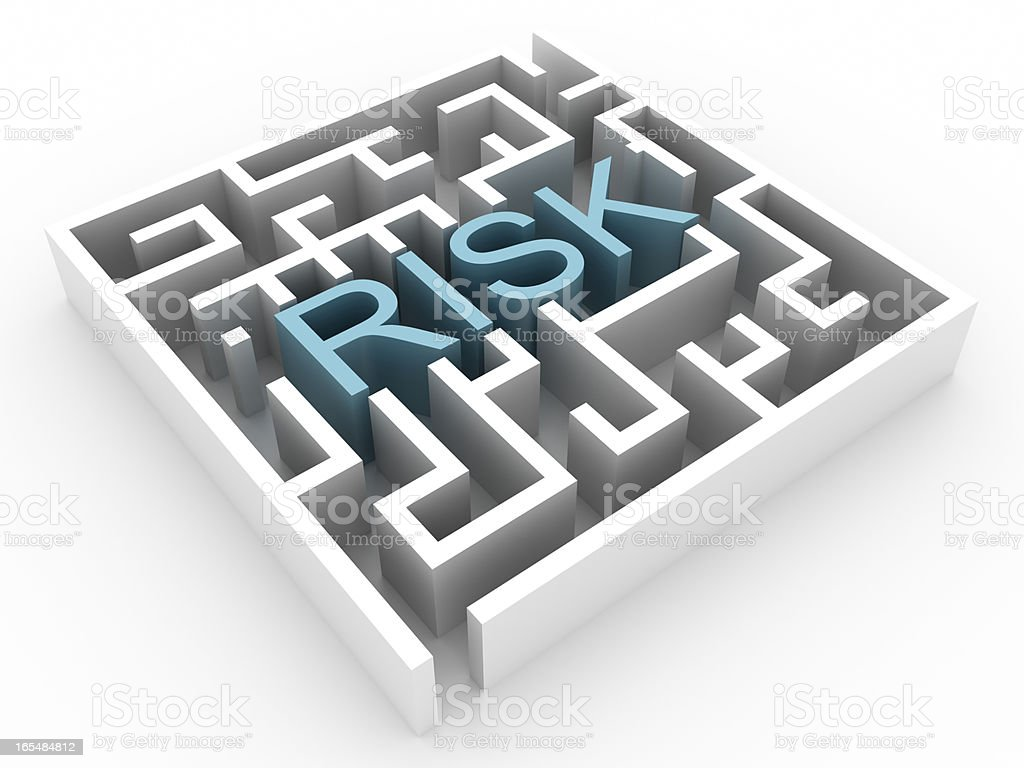 Labyrinth with RISK text (isolated on white) royalty-free stock photo