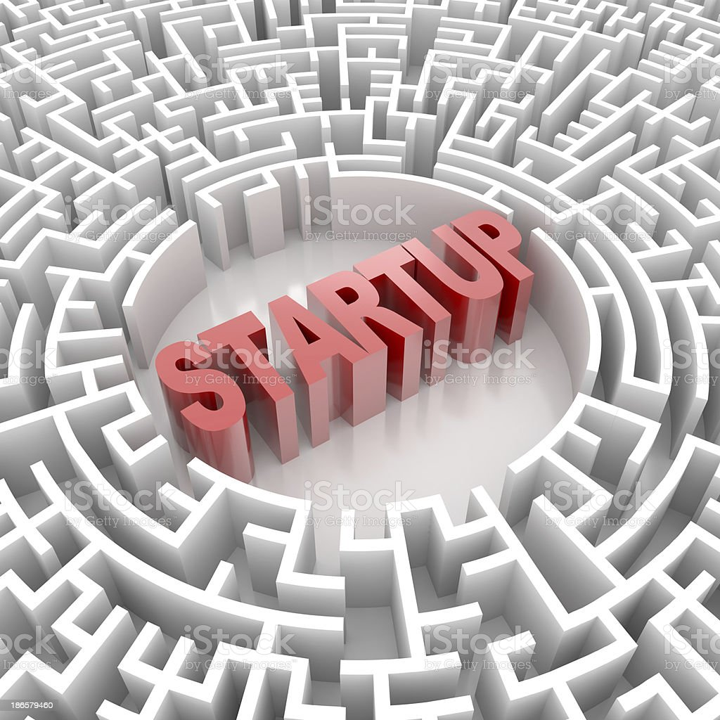 Labyrinth with STARTUP word royalty-free stock photo