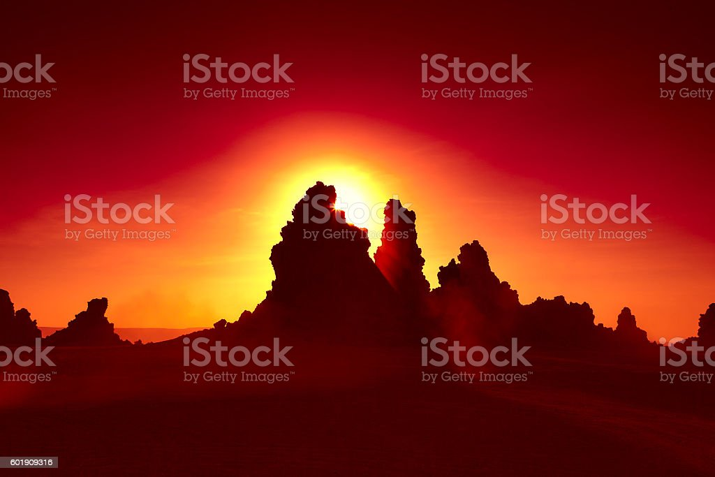 Lac Abbe Sunset stock photo