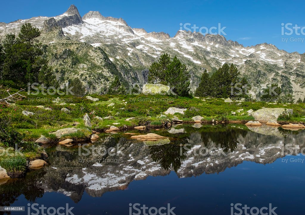 Lac Aumar, water and mountains in the natural park. stock photo