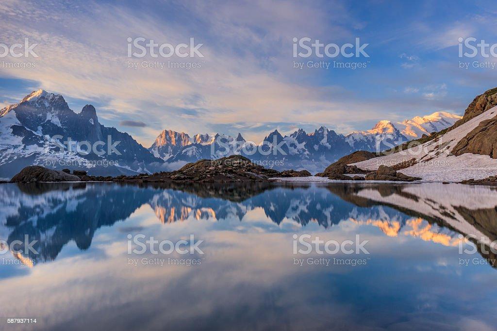 Lac Blanc, Graian Alps, France stock photo