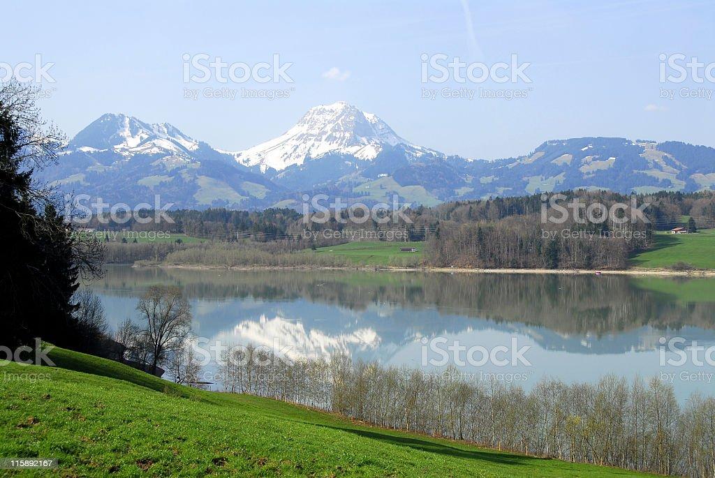 Lac de la Gruyere and beautiful surroundings ,Berner Oberland,Switzerland royalty-free stock photo