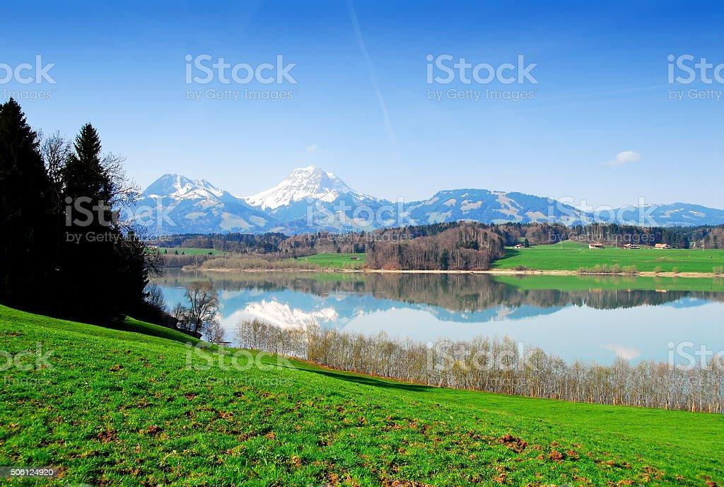 Lac de la Gruyere and beautiful surroundings ,Berner Oberland,Switzerland stock photo