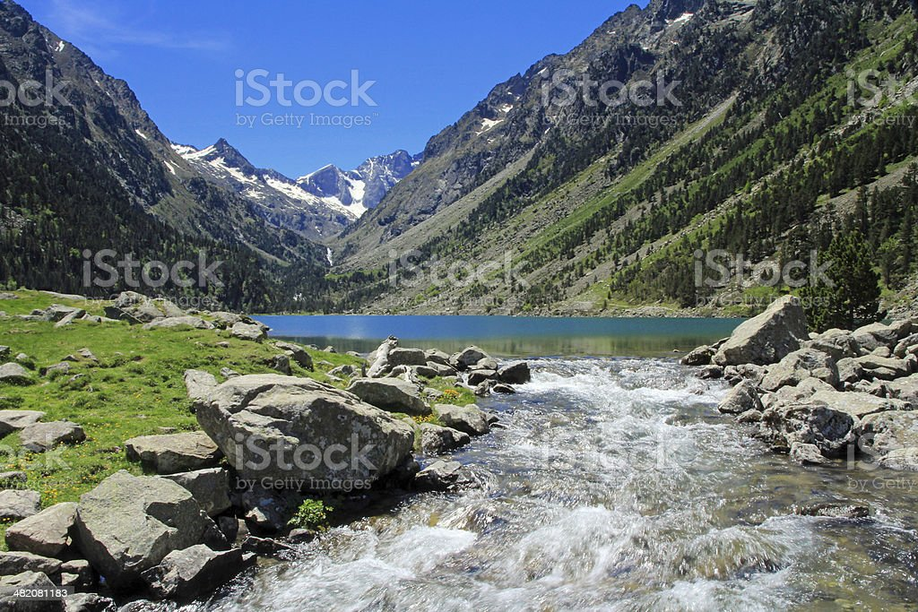 Lac du Gaube, Pyrneees, France stock photo