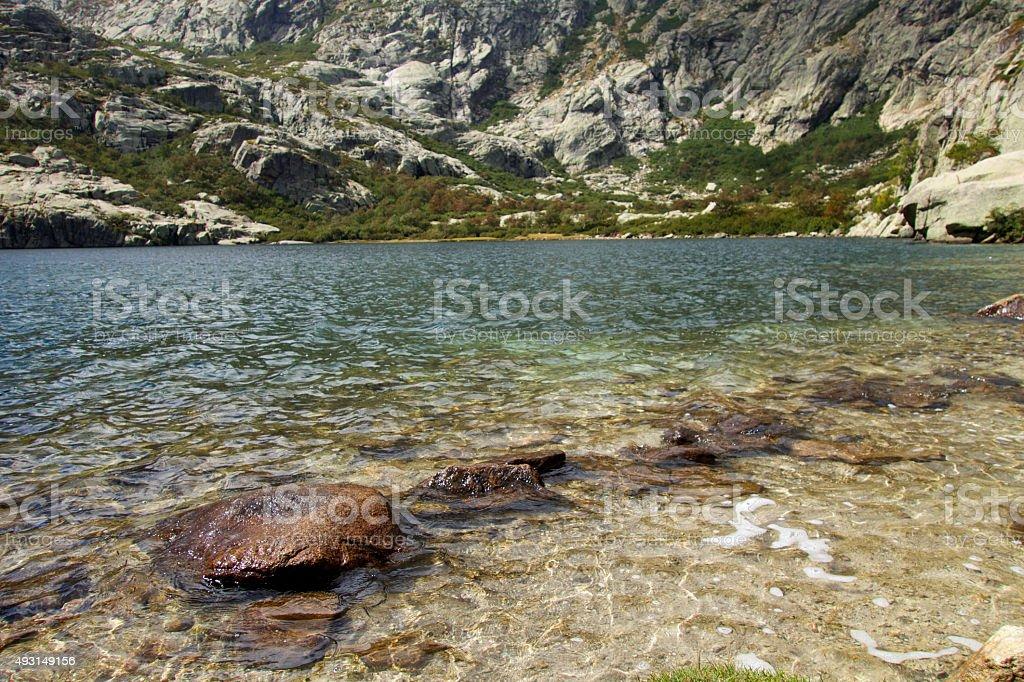 Lac du Melu in Corsica stock photo