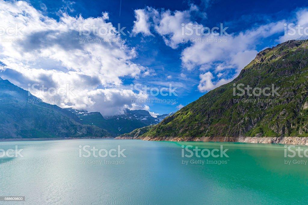 Lac (lake) Emosson near Finhaut in the Valais,  Switzerland. stock photo