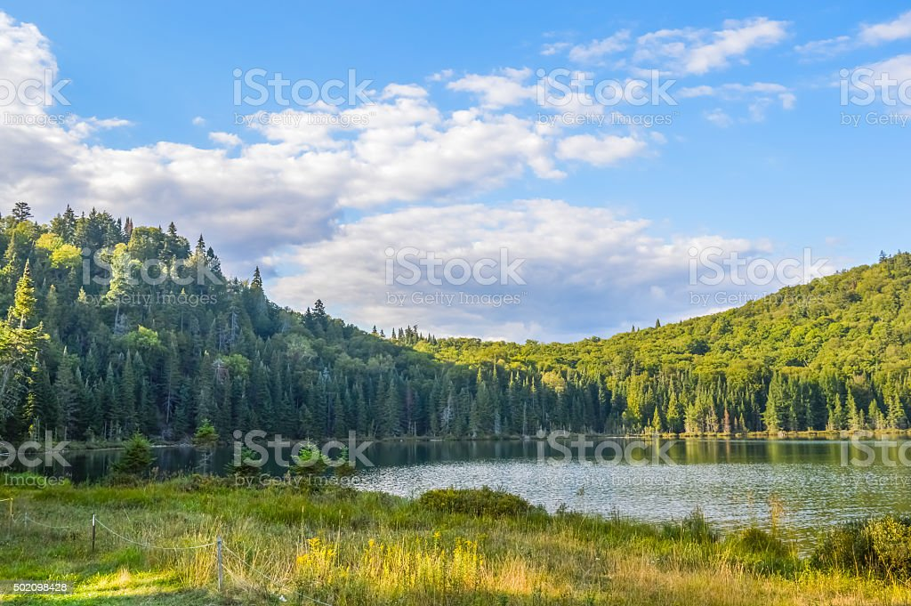Lac in Mont-Tremblant national park in sunshine stock photo