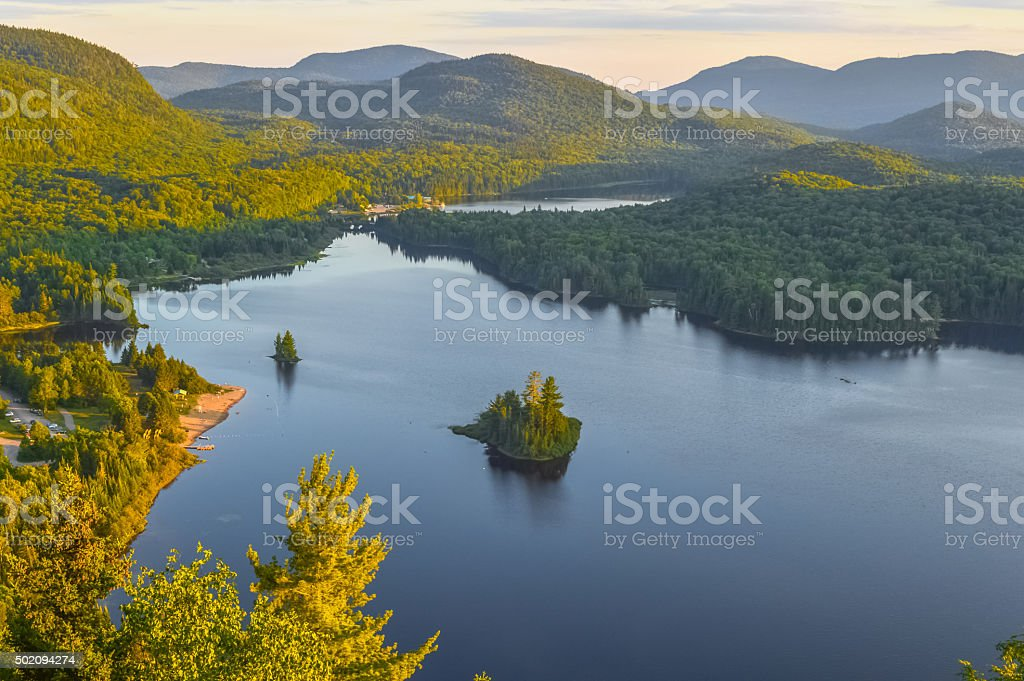 Lac Monroe in Mont-Tremblant national park in sunshine stock photo