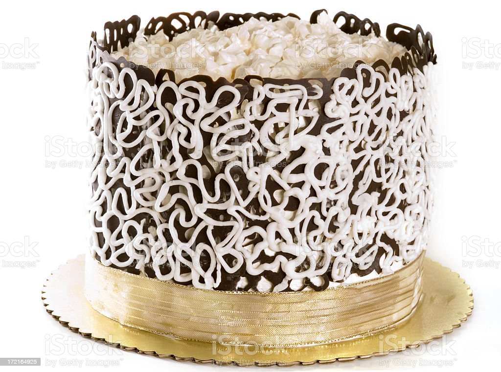 Lace cake with whipped cream stock photo