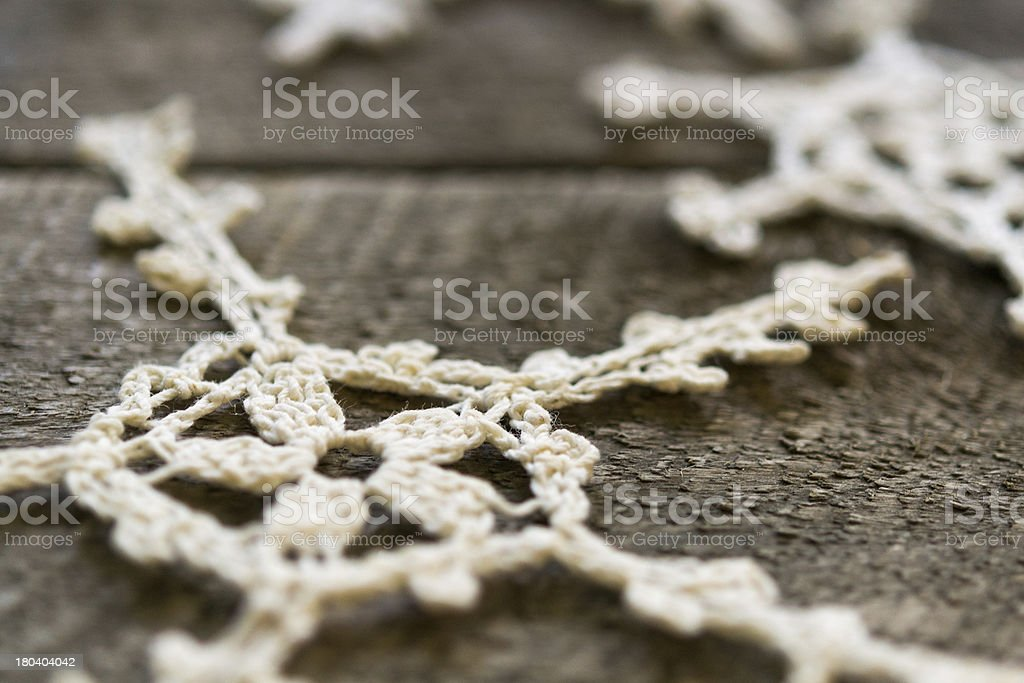 Lace Christmas Ornaments on Wood royalty-free stock photo