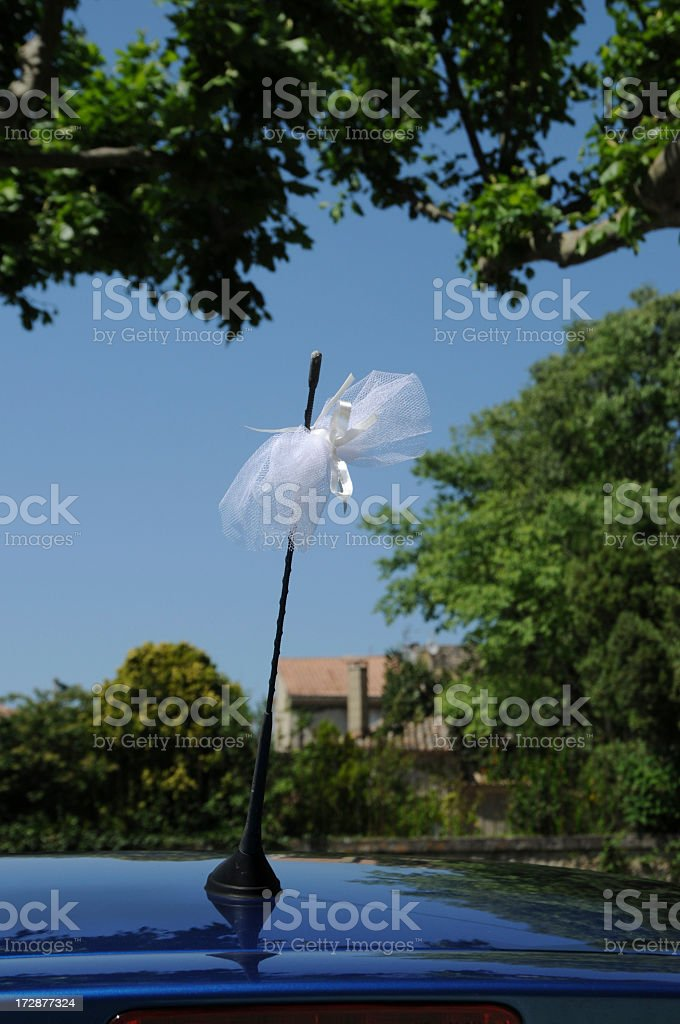 lace decoration on car aerial, Provence, France stock photo