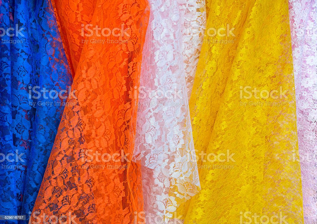 Lace Fabric display in fabric shops stock photo