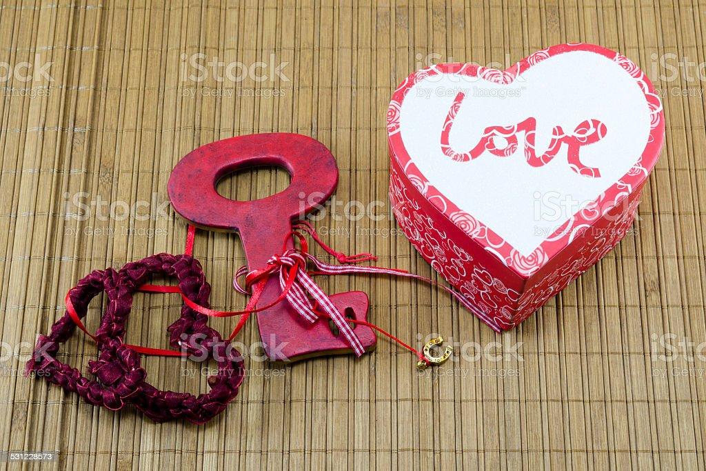 Lace hearts, heart shaped box and a key royalty-free stock photo
